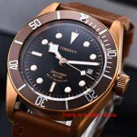 Corgeut 41mm Automatische Uhr Männer Military Schwarz Bay Armbanduhr Lederband Licht Wasserdicht Sport Schwimmen Mechanische Uhr