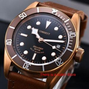 Image 1 - Corgeut 41mm automatyczny zegarek męski wojskowy czarny Dial skórzany pasek do zegarka Luminous wodoodporny Sport Swim mechaniczny zegarek