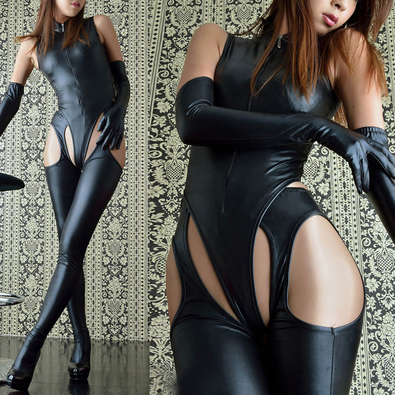 Role-play Women Party   Jumpsuits   Patent Leather Sexy Siamese Three-piece Bodysuits