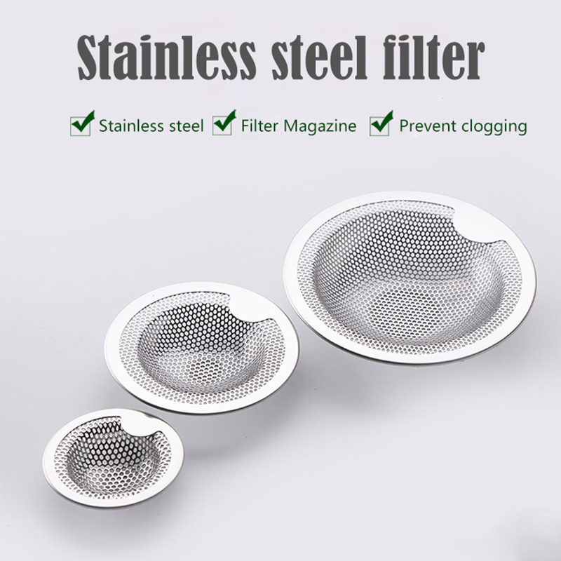 Stainless Steel Mesh Sink Strainer Drain Stopper Filter Bath Hair Trap Stopper Drain Hole Filter Trap Kitchen Bathroom Strainer