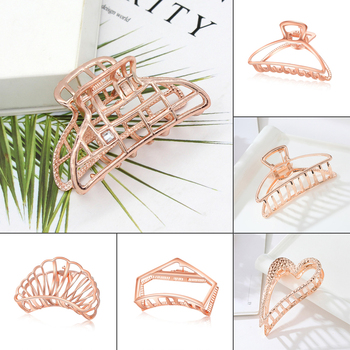 Rose Gold Color Hair Claws for Women Ladies Hair Barrette Hairpin Crab Alloy Hollow Hair Clips Hairpin Hair Accessories Headwear faux sapphire alloy hollow out floral barrette