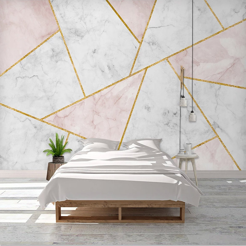 Custom Mural Wallpaper Modern 3D Abstract Geometric Marble Golden Lines Living Room Sofa TV Background Wall Painting Home Decor