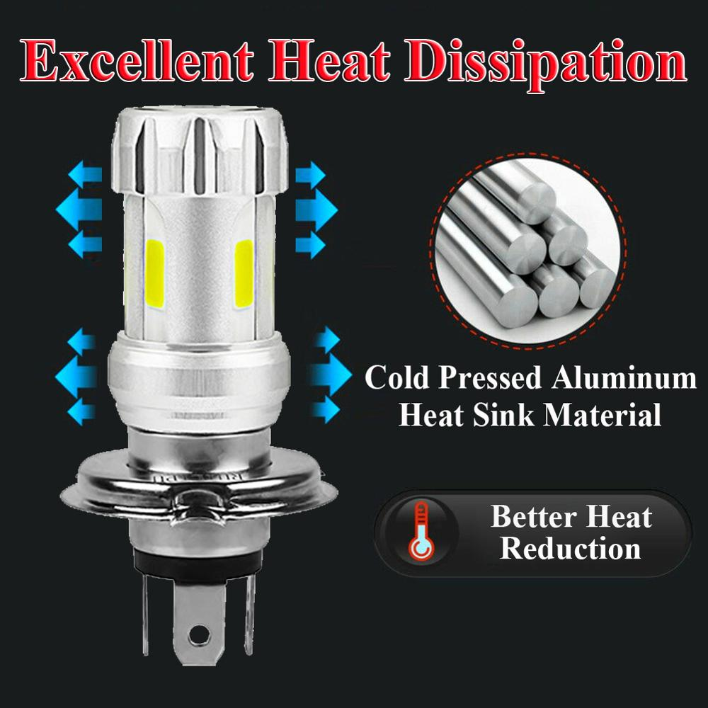 Motorcycle Headlight Bulbs H4 White 36W LED Lamps COB 6000K Motor Bike DC 12V Headlamp 2