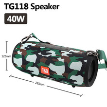 40W TG118 Bluetooth speaker outdoor wireless Column Subwoofer Music Center BoomBox portable 3D stereo 3600mAh battery FM/TF/AUX