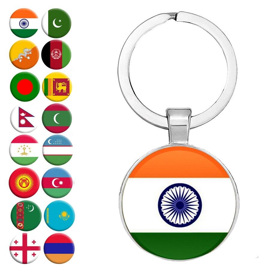 New National Flag Keychains India Pakistan Sri Lanka Bhutan Nepal Uzbekistan Armenia Georgia Maldives Keyrings Jewelry