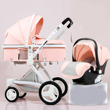 High Landscape PU leather Baby Stroller 3 in 1 Full-size Bab