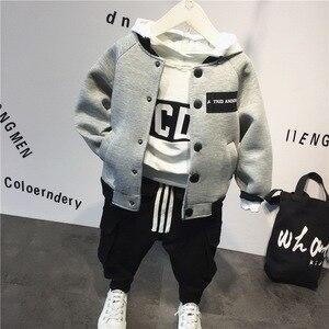 Image 1 - Kinder anzug baumwolle baby Baseball jacke + hoodie + hosen 3 stücke kleidung set Herbst winter baby jungen anzug kinder kleidung set