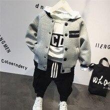 Terno das crianças algodão bebê jaqueta de beisebol + moletom com capuz + calças 3 pçs conjunto de roupas outono inverno bebê meninos terno crianças conjunto