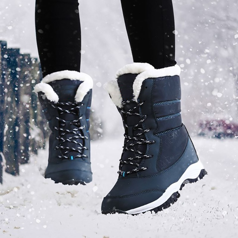 2019 Women Snow boots Waterproof Non-slip Parent-Child Winter Boots Thick Fur Platform Waterproof and Warm Shoes Plus Size 31-42 36