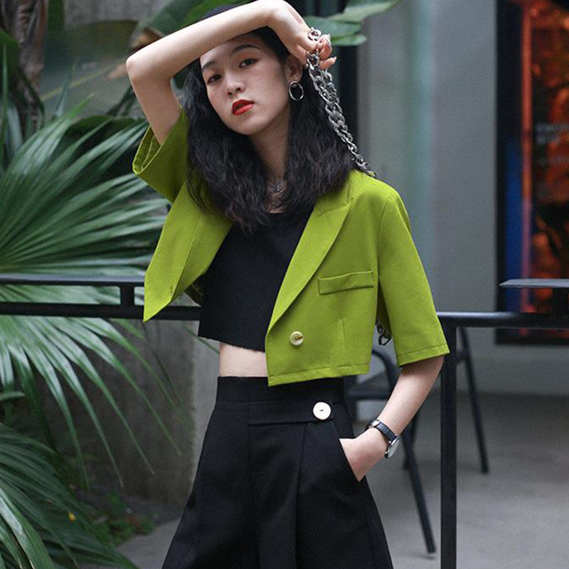 2020 new Spring small suit jacket Middle Sleeve Short Suit Jacket female Office Lady Single Breasted Solid Color Korean Fashion