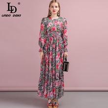 LD LINDA DELLA 2019 Autumn Women Dress Runway Fashion Designer Lantern Sleeve Leopard Printed Elegant Slim Holiday Long Dresses цена и фото