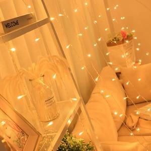 Image 2 - 3x3m 3x2m 6x2m 300 LED נחושת חוט נטיף קרח וילון אורות האיחוד האירופי תקע פיות אורות מחרוזת גרלנד לחתונה מסיבת וילון תפאורה