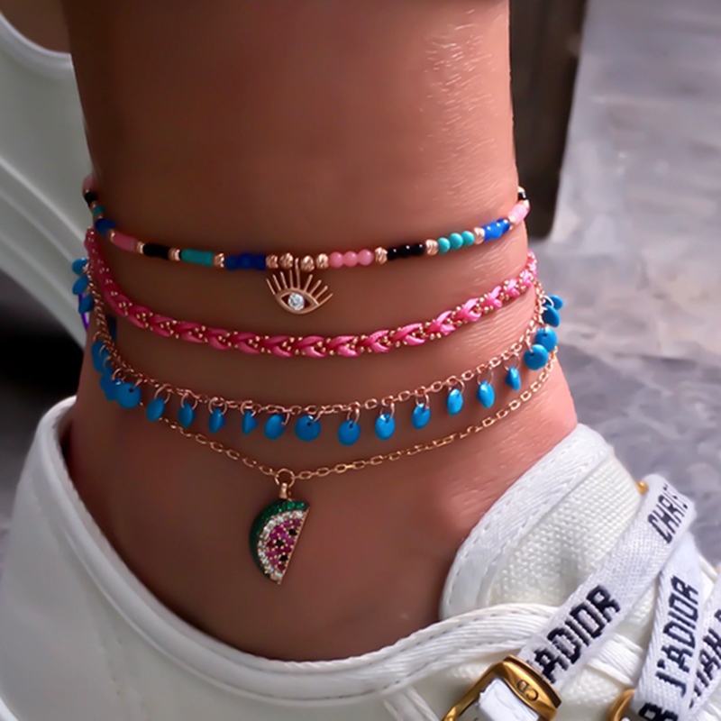 4 Pieces/set New Fashion Creative Weaving Rice Beads Eye Cactus Shell Travel Party Anklet