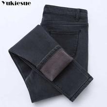 Зимние женские джинсы, золотой флис изнутри, уплотненные джинсовые штаны с высокой талией, теплые женские джинсы, женские брюки больших размеров