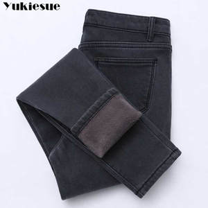 Female Jeans Trousers Denim Pants Warm Fleeces Gold Inside High-Waist Plus-Size Women