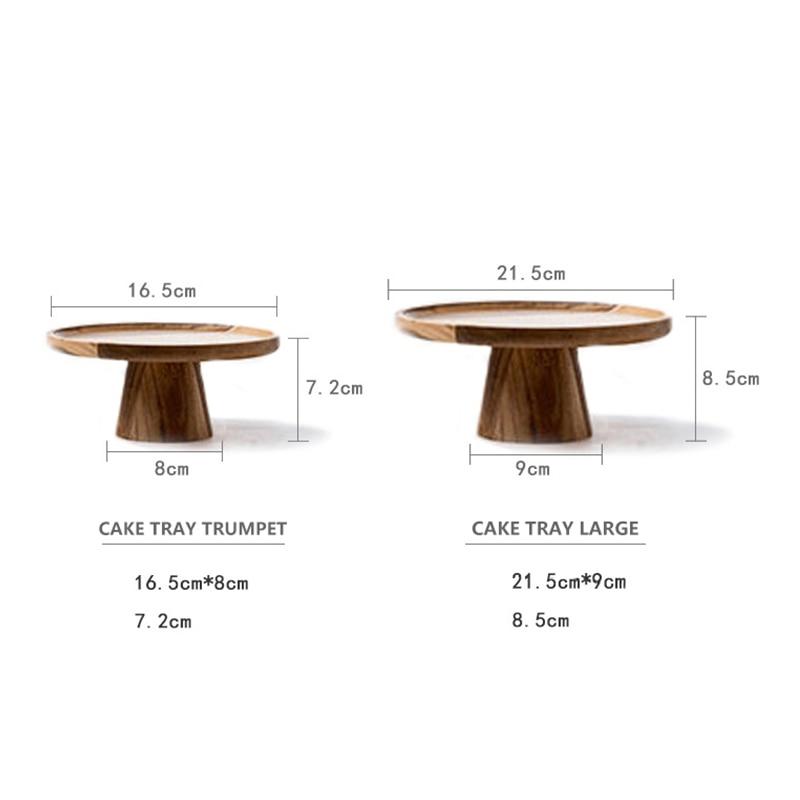 Деревянная тарелка для торта с высокой подставкой, креативные подносы для сервировки еды, многоцелевой экологичный фруктовый десерт из наурального дерева, поднос для закусок, домашний декор-5