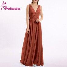 Robe Femme Bridesmaid Dresses Long 2020 Chiffon V-Neck Wedding Party Dress Vestito Da Festa Di Nozze