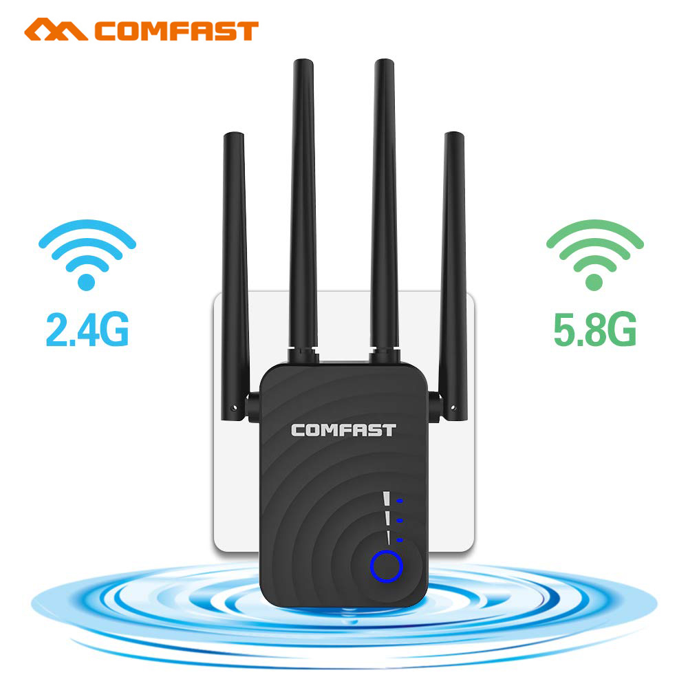 Comfast CF-WR754AC 1200Mbps Wireless Wifi Extender Repeater/Router/AP Dual Band 2.4&5.8Ghz 4 Antenna Long Range Signal Amplifier