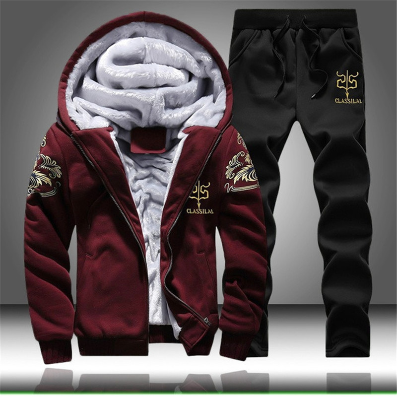 Causal Tracksuits Men Set Hooded Thicken Fleece Warm Hoodies + Sweatpant Winter Spring Sweatshirt Sportswear Letter Print 2019