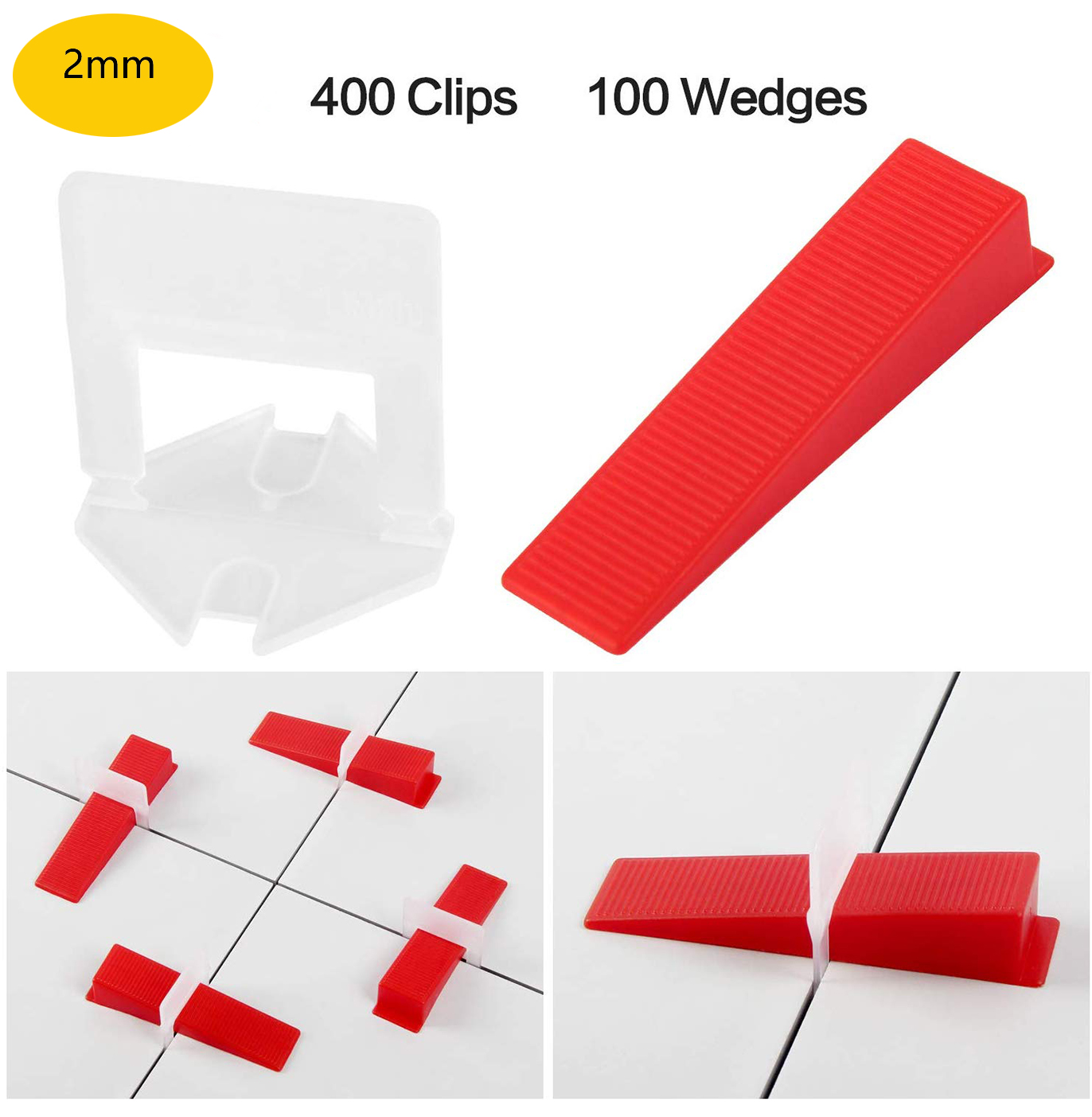 2mm Tile Leveling System 400pcs Clips+100pcs Reusable Wedges Self Leveling Plastic Tile SpacersT Lock For Floor Wall Ceramics