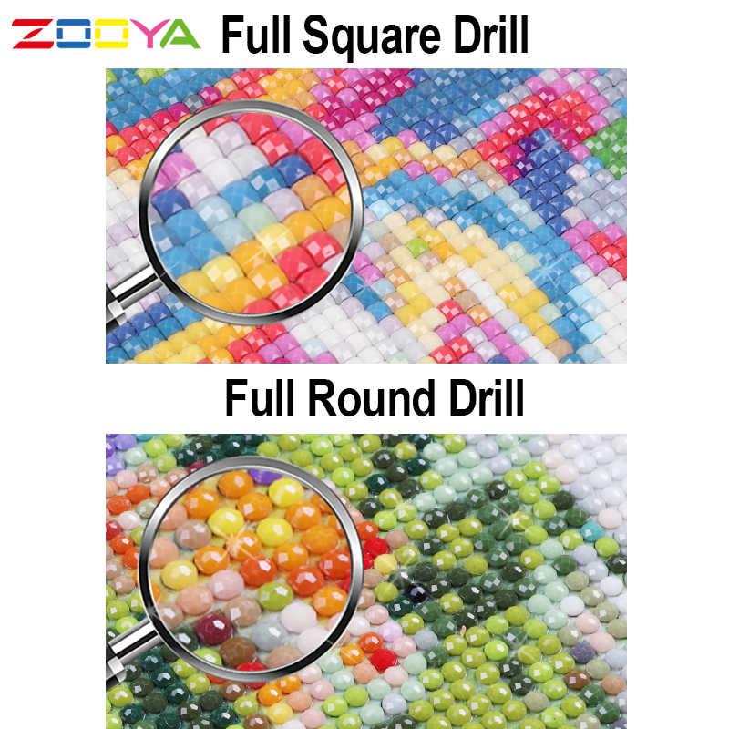 ZOOYA เพชรเย็บปักถักร้อยภูมิทัศน์ 5D DIY เพชรภาพวาด Full Dill รอบเพชรโมเสคแผนที่ระหว่าง FIELDS ของขวัญ RF911