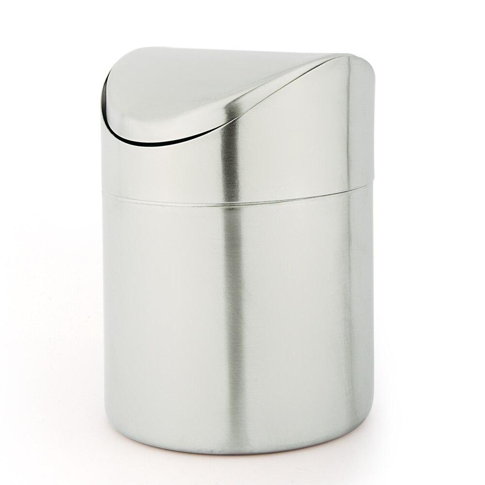 Creative mini stainless steel swing desk countertop trash can living room kitchen debris storage cleaning bucket Waste Bins     - title=