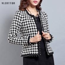 2019 NEW Autumn Winter female jacket Vintage Plaid Slim Tweed coat Plus size Casual O neck long sleeve women jackets roupas drop shoulder plaid tweed plus size coat