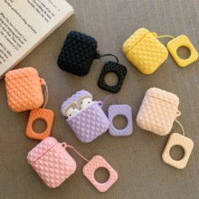 For AirPods Case Fashion Luxury Diamond Pattern Earphone Cases Apple Airpods 2 Soft Protect Cover with Finger Ring Strap