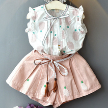 Girls Clothes Suit 2020 Summer Girl Clothing Set Fashion Lovely Vest Shirt Top+Shorts Baby Girls Clothes Party Kids Clothes(China)
