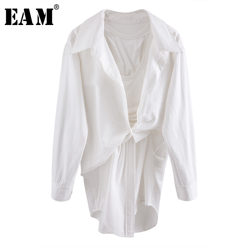 [EAM] Women White Irregular Knot Stitch Shirt Dress New V-collar Long Sleeve Loose Fit Fashion Tide Spring Summer 2020 WL96100
