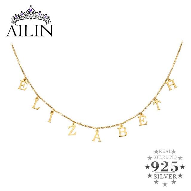 AILIN 실버 925 이름 목걸이 골드 컬러 맞춤 편지 투표 목걸이 네임 플레이트 초커 맞춤 목걸이 여성 선물 쥬얼리