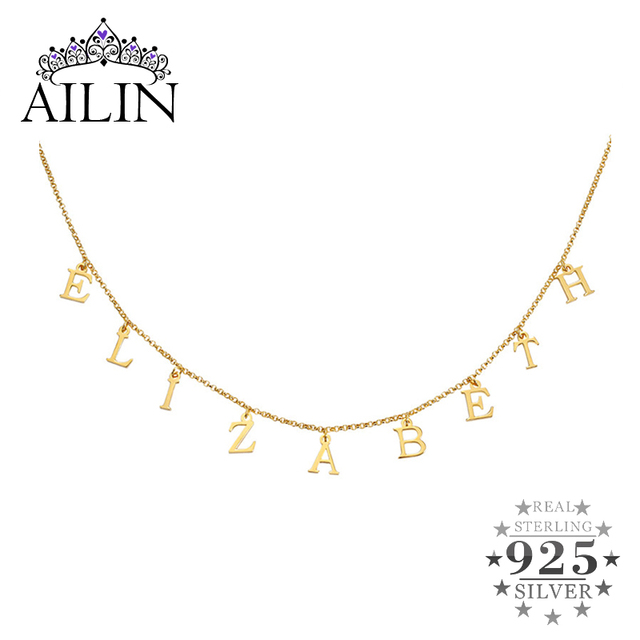 AILIN Silver 925 Name Necklace Gold Color Personalized Letter Vote Necklace Nameplate Choker Custom Necklaces Women Gift Jewelry