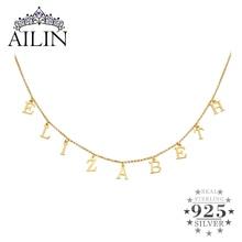 AILIN collier personnalisé argent avec nom 925 couleur or avec lettres à voter, plaque nominative ras du cou, bijoux cadeaux pour femmes