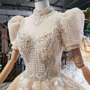 Image 5 - Champagne alta pescoço luxo dubai vestidos de casamento 2020 manga curta lantejoulas rendas até vestidos de noiva hx11612 feito sob encomenda