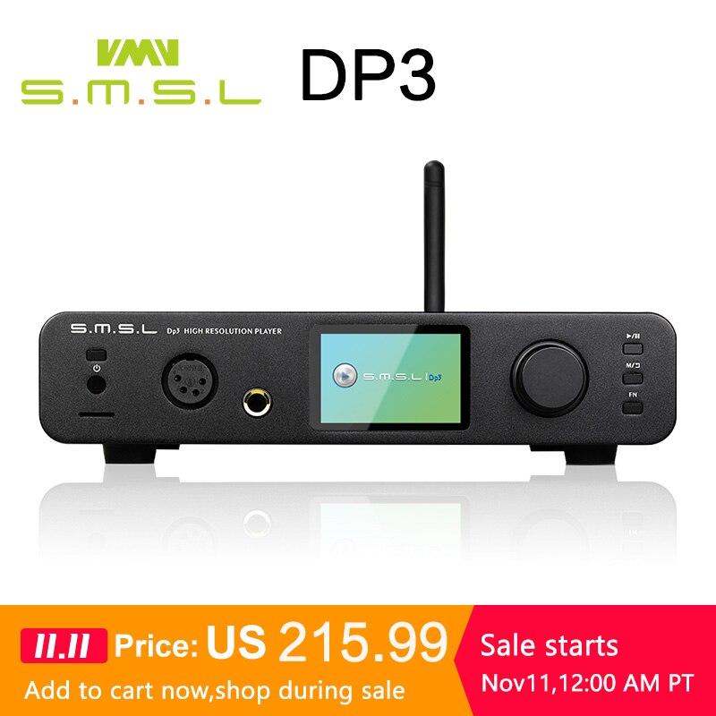 Smsl dp3 dsd alta fidelidade digital turntable disco rígido balanceado e desequilibrado fone de ouvido amplificador wifi rede leitor música