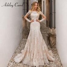 Destacável sereia vestidos de casamento 2020 com jaqueta 2 em 1 barco pescoço manga cheia apliques rendas até vestido de noiva