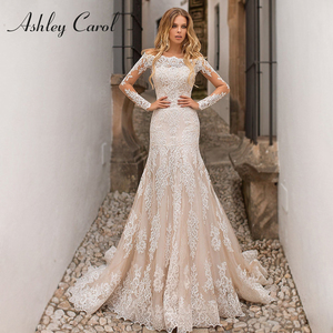 Image 1 - Detachable Mermaid Wedding Dresses 2020 With Jacket 2 In 1 Boat Neck Full Sleeve Appliques Lace Up Bridal Gown Vestido De Noiva