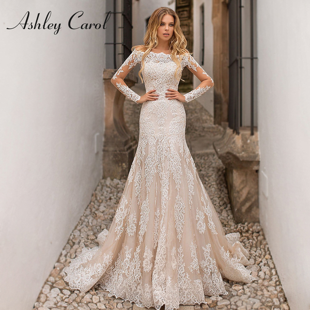 Detachable Mermaid Wedding Dresses 2020 With Jacket 2 In 1 Boat Neck Full Sleeve Appliques Lace Up Bridal Gown Vestido De Noiva