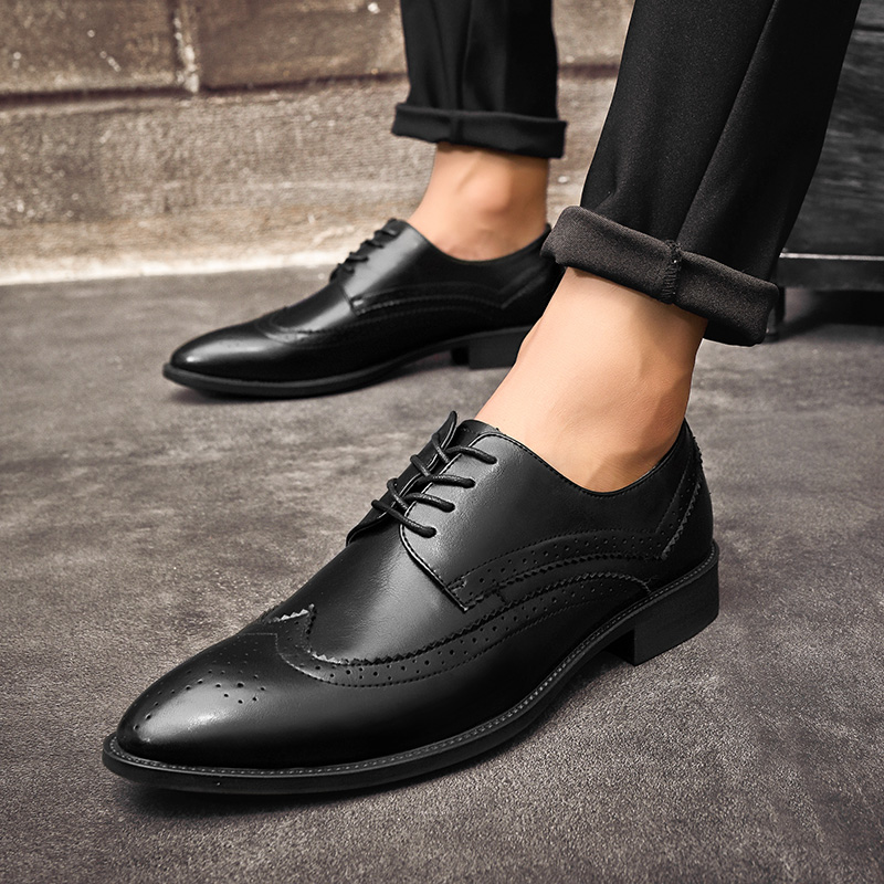 men's formal shoes cow leather high quality point-toe business office wedding dress business leisure shoes man big size 47 a4