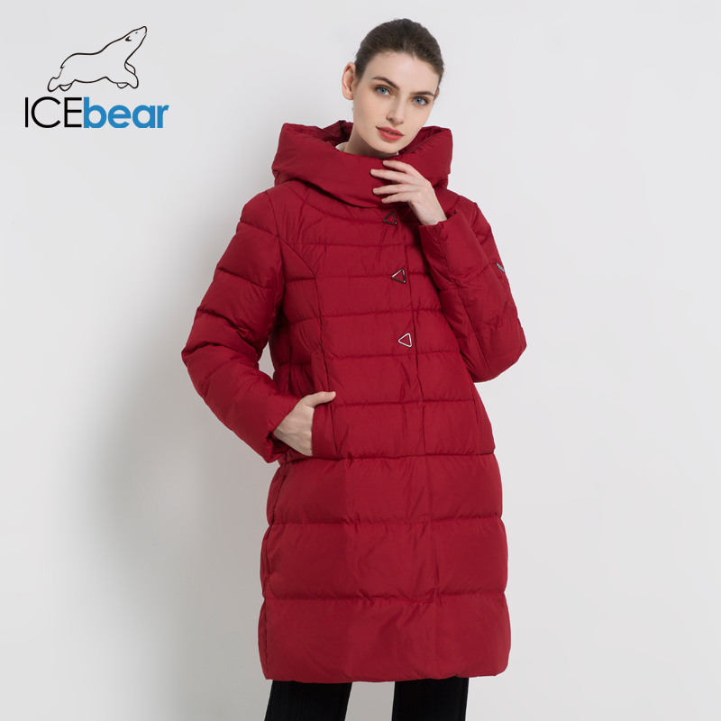 ICEbear 2019 New Winter Women's Coat Fashion Female Jacket High Quality Casual Jackets Hooded Parkas Brand Clothing GWD18077I