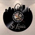 Настенные часы St Луи Skyline  домашний декор  Миссури  США  Saint Луи  виниловая запись  настенные часы  декоративные часы в американском городском ...