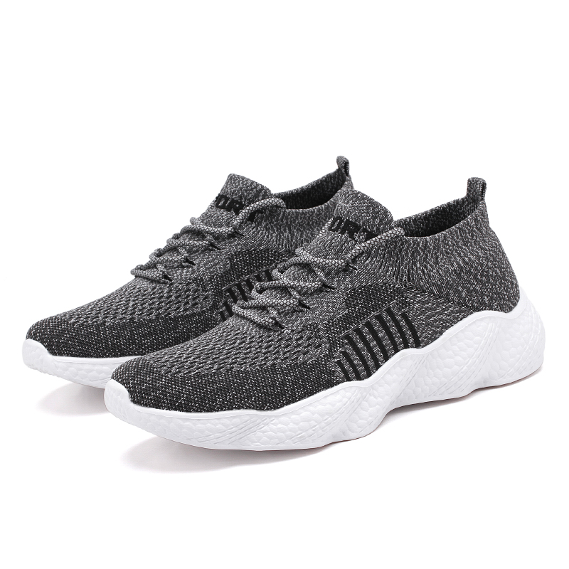 H49ae6d49a4574c01a254b7876102b412Q Flyknit Men Shoes Light Sneakers Men Breathable Jogging Shoes for Men Rubber Tenis Masculino Adulto Plus 35 46 48