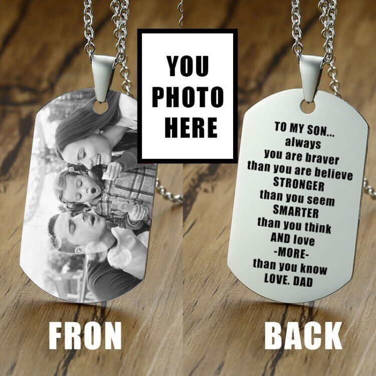 Personalized Dog Tag Men Necklace Custom Photo Name Text  Army Name Engraved Heart Dogtag Round Pendant Father Unisex Gifts