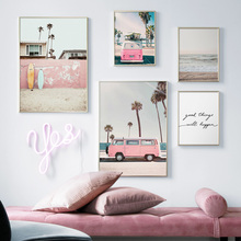 Pink Car Sea Coconut Tree Wall Art Print Canvas Painting Nordic Poster And Prints Pictures For Living Room Decor