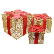 1 Set Festive Wrought Iron Gift Box Ornaments Venue Decor Supplies (Golden)