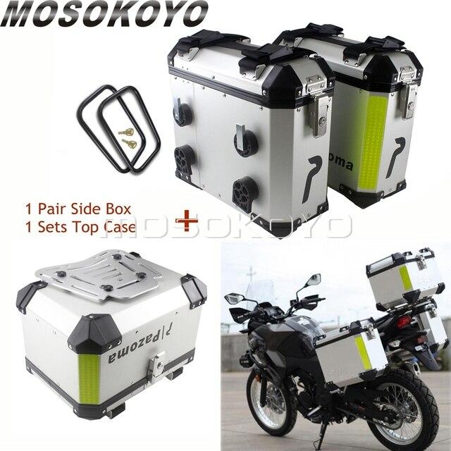 Sidecases universales de 36L para motocicleta, caja con estante y caja superior de almacenamiento de carga de 45L para BMW, Yamaha, Suzuki, Honda, NC700X, NC750X