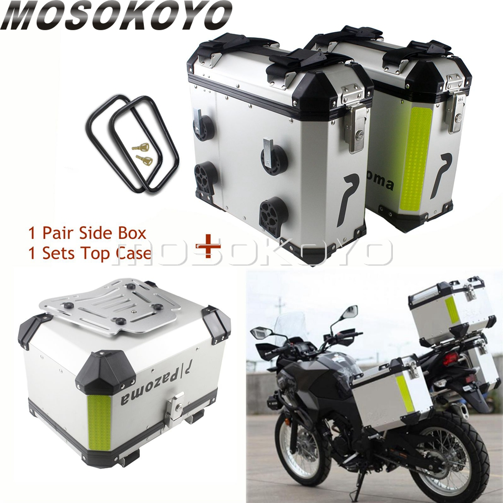 Universal 36L Motorcycle Sidecases Pannier Box w/ Rack + 45L Cargo Storage Top Case For BMW Yamaha Suzuki Honda NC700X NC750XCovers & Ornamental Mouldings   -