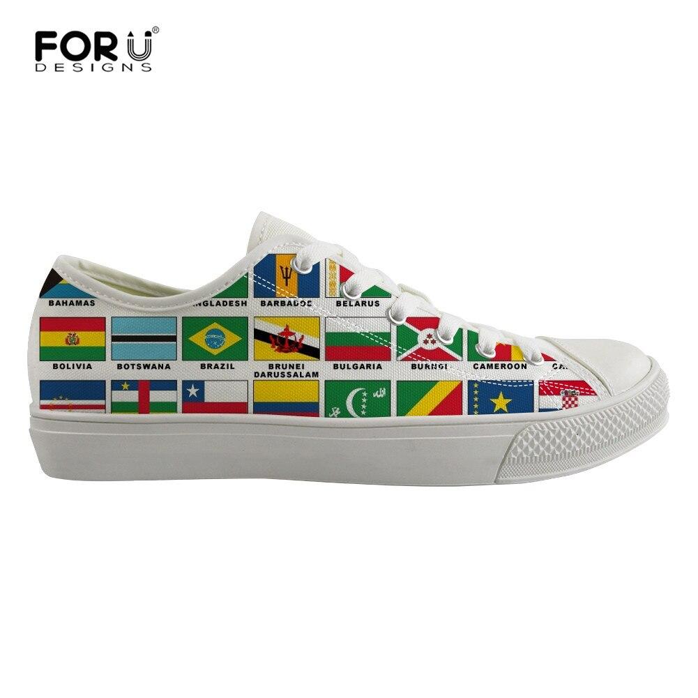 FORUDESIGNS World National Flag Print chaussures vulcanisées pour hommes chaussures basses hauts en toile baskets plates à lacets chaussures de marche Zapatillas Hombre
