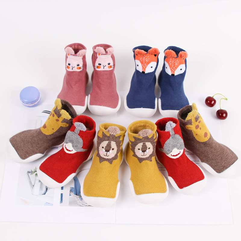 Toddler Baby Knitted Leopard Floor Socks Shoes With Rubber Soles Infant Anti-slip Indoor Socks Newborn Spring Summer Autumn