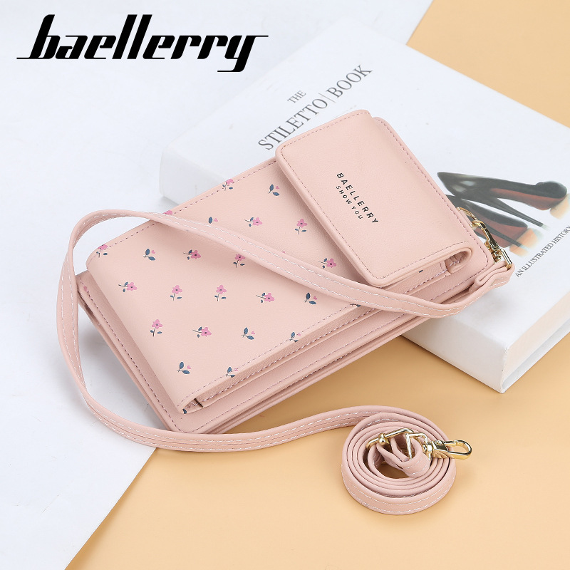Baellerry Women Wallet Lady Cell Phone Wallet Small Handbag Purse Clutch Mini Crossbody Shoulder Strap Money Bag Carteira Femini